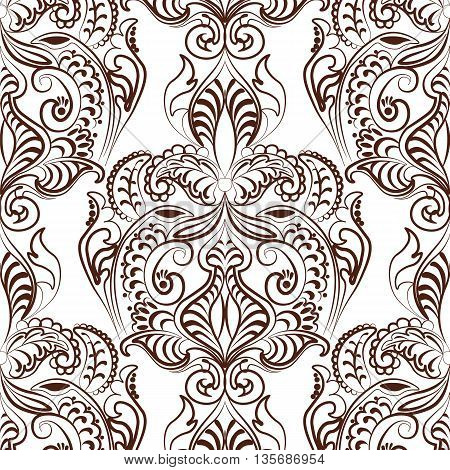 Vector floral lace pattern in Oriental style. Ornamental lace pattern for wedding invitations greeting cards backgrounds fabrics textile. Traditional decor. Russet color