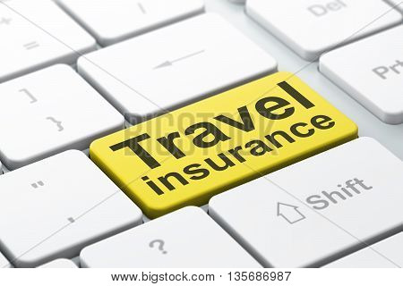 Insurance concept: computer keyboard with word Travel Insurance, selected focus on enter button background, 3D rendering