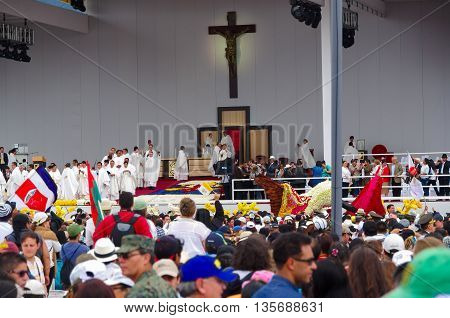 QUITO, ECUADOR - JULY 7, 2015: Everything ready and waitting to pope Francisco to celebrate a big mass.