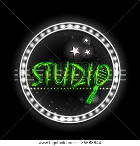 easy to edit vector illustration of Neon Light signboard for Studio