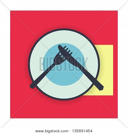 provide etiquette disgusting meal on white background flat. Knives and forks on a plate. Vector illustration.