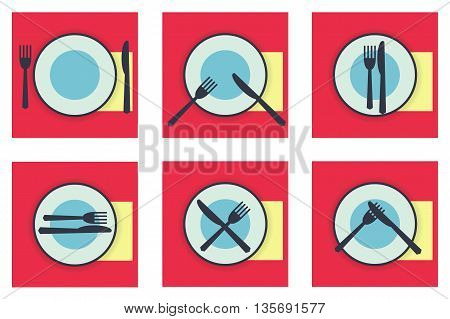 Collection web icons provide etiquette on white background flat. Knives and forks on a plate. Vector illustration for app