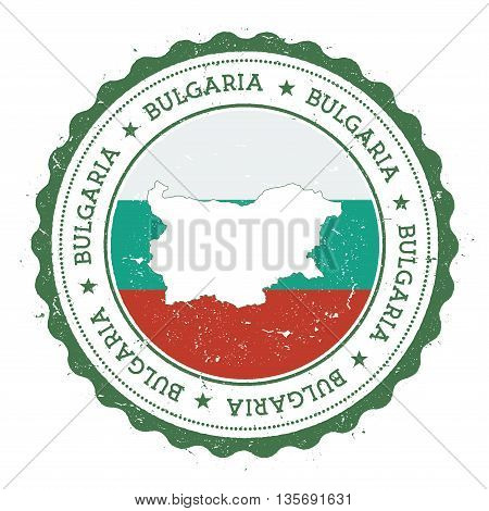 Bulgaria Map And Flag In Vintage Rubber Stamp Of State Colours. Grungy Travel Stamp With Map And Fla