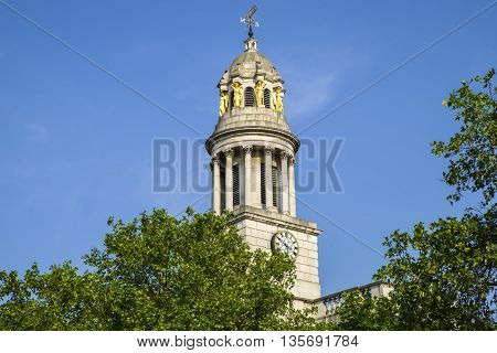 A view of St. Marylebone Parish Church in London. poster