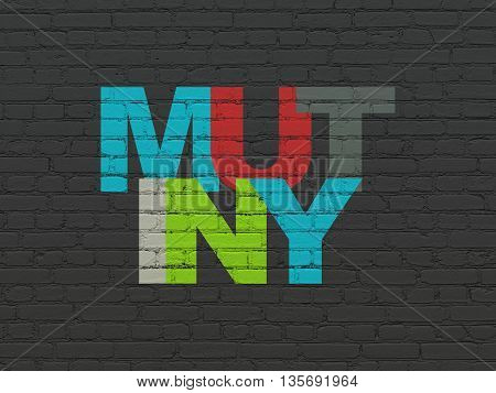 Political concept: Painted multicolor text Mutiny on Black Brick wall background