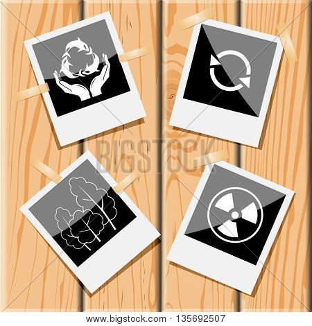 Ecology set. Photo frames on wooden desk. Vector icons.