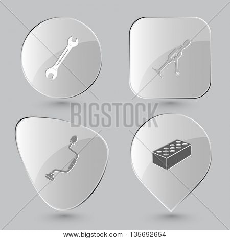Industrial tools set. Glass buttons on gray background. Vector icons.