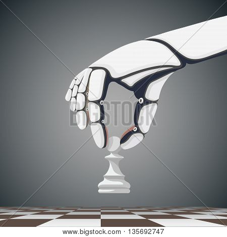 Robot arm holding a chess pawn. Artificial Intelligence. Stock Vector cartoon illustration.