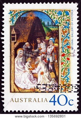 AUSTRALIA - CIRCA 2001: a stamp printed in the Australia shows Adoration of the Magi Illumination from the Wharncliffe Hours Christmas circa 2001
