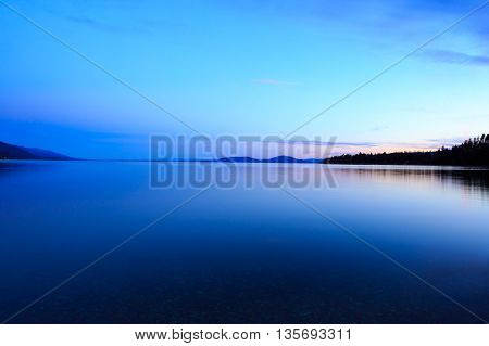 Landscape and sunset over Flathead Lake Montana.