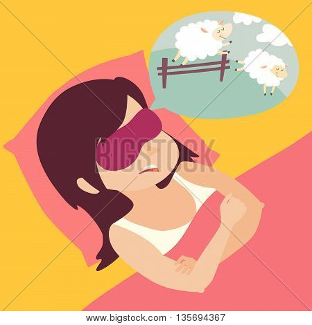 Girl with counting sheep. Stress problem of sleep insomnia concept. Cartoon woman in bed. Sheep jumping over the fence. Vector illustration
