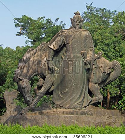 Statue Of Chinese Warrior With Horse