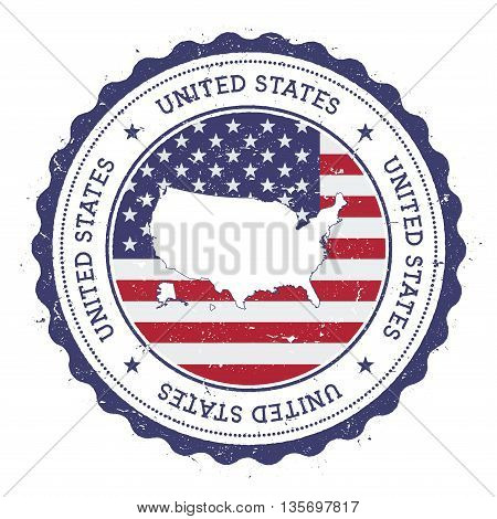 United States Map And Flag In Vintage Rubber Stamp Of State Colours. Grungy Travel Stamp With Map An