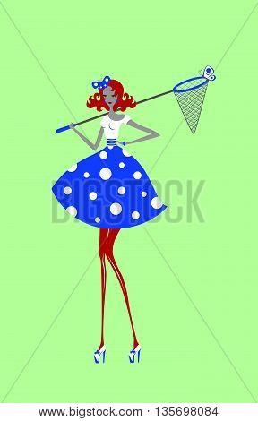 Entomologist girl in polka-dot dress with butterfly net illustration.