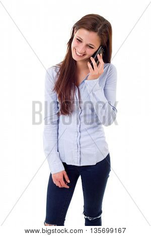 Young beautiful woman at the phone, isolated over a white background