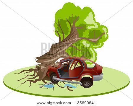 Accident car crash ran into tree. Vehicle insurance. Illustration in vector format