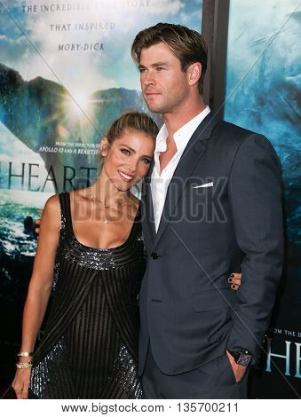 NEW YORK-DEC 7: Actor Chris Hemsworth (R) and Elsa Pataky attend the New York premiere of