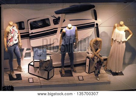 ANKARA/TURKEY- JUNE 23, 2016: Mannequins and Cessna Floatplane at the Ipekyol Emporium display. June 23, 2016-Ankara/Turkey