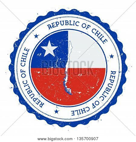 Chile Map And Flag In Vintage Rubber Stamp Of State Colours. Grungy Travel Stamp With Map And Flag O