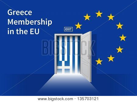 Flag of the Greece and the European Union. Greece Flag and EU Flag. Abstract Greece exit in a wall