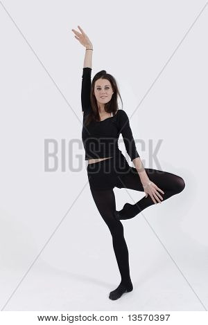 The Gymnast girl training in studio