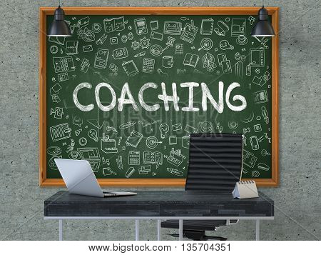 Coaching - Hand Drawn on Green Chalkboard in Modern Office Workplace. Illustration with Doodle Design Elements. 3D.
