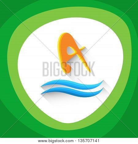 Diving Athlete Sport Game Logo Icon Vector Illustration