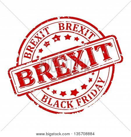 Scratched round red stamped - brexit Black Friday - Vector