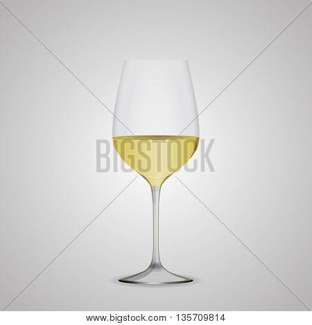 Wine glasses white wine. EPS10 Vector illustration