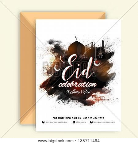 Stylish Invitation Card with Envelope and Mosque made by paint stroke for Muslim Community Festival, Eid Mubarak Celebration.