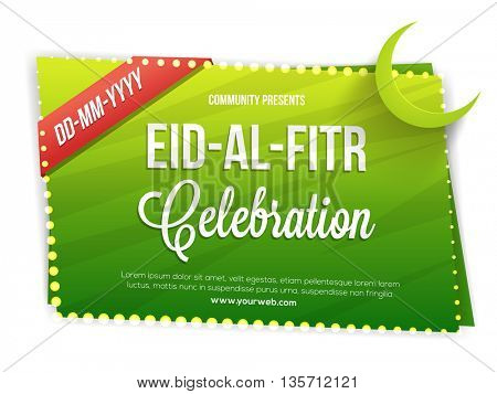 Creative Green Invitation Card design for Islamic Holy Festival, Eid-Al-Fitr celebration.