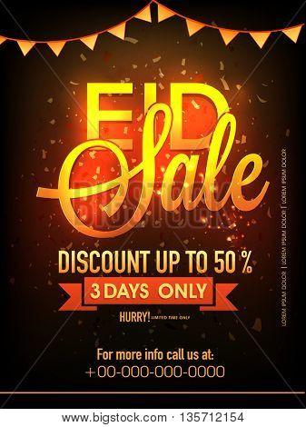 Eid Sale with 50% Discount Offer, Sale Pamphlet, Banner or Flyer design for Muslim Community Festival celebration.