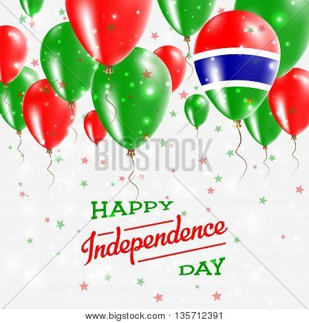 Gambia Vector Patriotic Poster. Independence Day Placard With Bright Colorful Balloons Of Country Na
