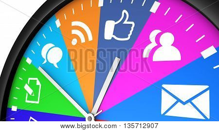Social network time management and web strategy concept with a clock and social media icon printed in multiple colors 3D illustration.