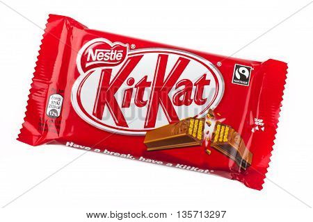 LONDON UK - MAY 6TH 2016: An unopened Kit Kat chocolate bar manufactured by Nestle pictured over a plain white background on 6th May 2016.