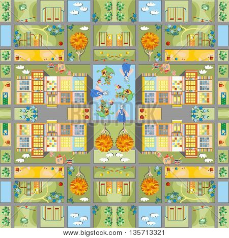Cute cartoon map. Seamless pattern of summer city in fairyland. Childish vector illustration. Can be used for floor carpeting, covers, bed linen fabric.