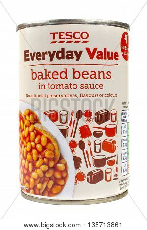 LONDON UK - MAY 6TH 2016: A tin of Tesco Everyday Value Baked Beans isolated over a plain white background on 6th May 2016.