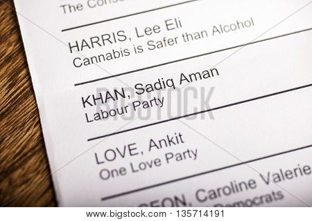 LONDON UK - APRIL 25TH 2016: The name of Sadiq Khan on a ballot paper for the Mayor of London Election taken on 25th April 2016. Sadiq Khan is the Labour Party candidate for the 2016 London Mayoral election.