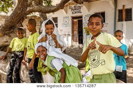 Mobmasa, Kenya- March 16,2016: School children in Mombasa Kenya