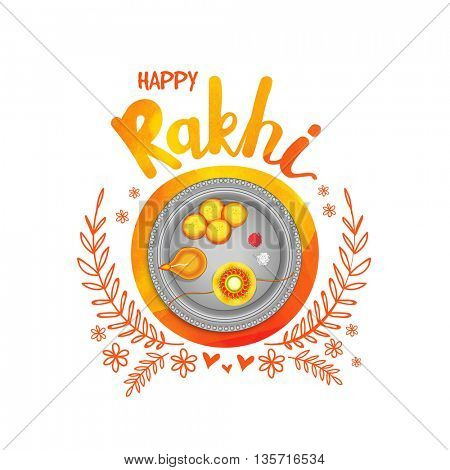 Beautiful decorated Thali (Plate) with Rakhi, Sweet and Earthen Lamp, Elegant Greeting Card design for Indian Traditional Festival Happy Rakhi (Happy Raksha Bandhan) celebration.
