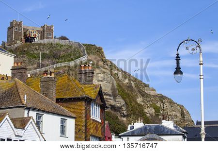 A view of the East Hill Railway on the clifftop of the Hastings Country Park in Hastings Sussex.
