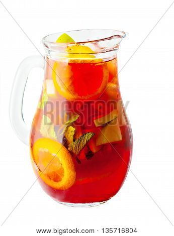 Sangria Pitcher. Wine Drink with Ice and Fruits