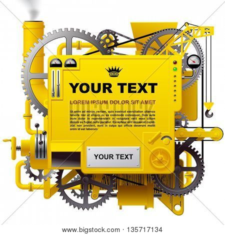 Yellow complex fantastic machine with gears, levers, pipes, meters, production line, flue and lifting crane. Steampunk style template, poster and techno background. Vector illustration