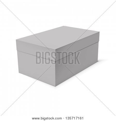 Blank paper or cardboard box template on white background. Vector illustration.