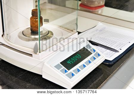 The electronic scales in a chemical laboratory