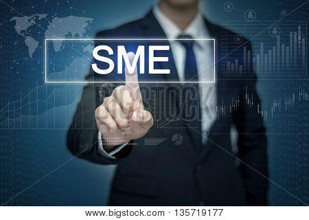 Businessman hand touching SME button on virtual screen