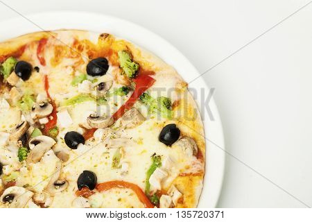 Tasty Vegetarian Pizza with Vegetable. Food Background