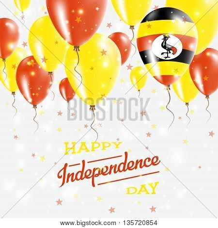 Uganda Vector Patriotic Poster. Independence Day Placard With Bright Colorful Balloons Of Country Na
