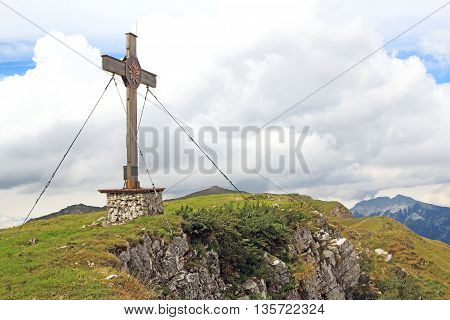 Summit With Summit Cross In The Alps (rofan)