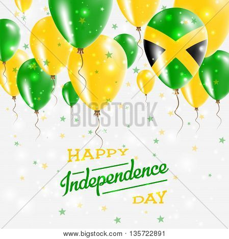 Jamaica Vector Patriotic Poster. Independence Day Placard With Bright Colorful Balloons Of Country N